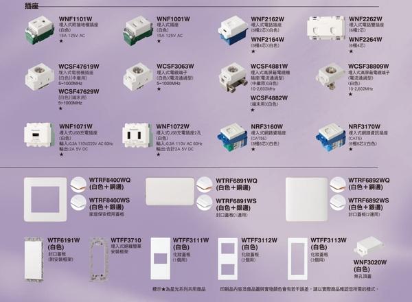 國際牌 Panasonic RISNA 系列 埋入式瞬瞬插座 附接地極 5.5mm2 絞用 組合 WNF11016W 白色