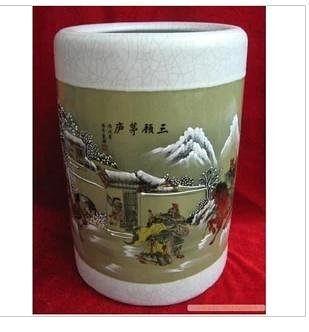 開片釉;三顧茅廬;大箭筒 陶瓷花瓶/工藝品擺件