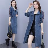 M-5XL長款牛仔風衣外套~牛仔外套女、流行韓版寬松遮肚時尚大碼中長款休閑風衣T102A莎菲娜
