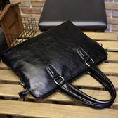 簡單商務休閒 男士手提包包橫款 單肩斜挎電腦包公文包