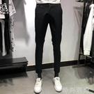 修身小腳夏季薄款顯瘦黑色彈力純棉休閒褲長褲