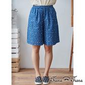 【Tiara Tiara】點點繁星鬆緊腰五分寬褲(藍)
