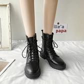 短靴 瘦瘦鞋網紅ins潮馬丁靴女夏季透氣春秋百搭薄款英倫風短靴子 晶彩