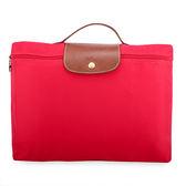 LONGCHAMP經典尼龍摺疊方形手提包(絳紅色)480103-270