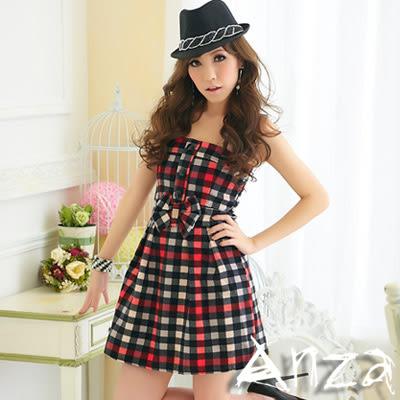 【AnZa】復古格紋飾鑽蝴蝶結平口洋裝
