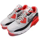 Nike 復古慢跑鞋 Air Max 90 Ultra SE GS 灰 橘紅 無縫線 大童 女鞋【PUMP306】 844599-004