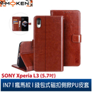 【默肯國際】IN7 瘋馬紋 SONY Xperia L3 (5.7吋) 錢包式 磁扣側掀PU皮套 手機皮套保護殼