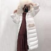 羽絨夾克-貉子毛領長版過膝緞面女連帽外套73wc13【巴黎精品】