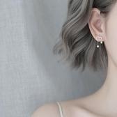 銀閃鉆愛心星星耳環簡約個性設計感耳飾 全館免運