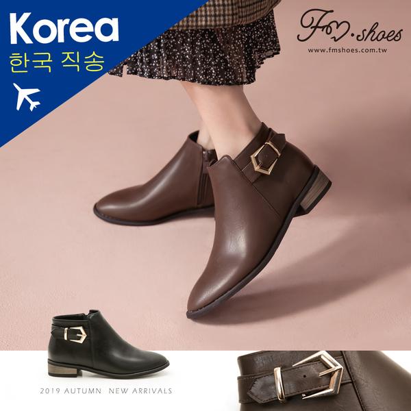 靴.五角釦飾木跟短靴-大尺碼-FM時尚美鞋-韓國精選.Fabulous