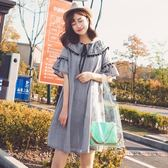 女裙子甜美可愛日系學生小清新荷葉邊短袖連身裙G9吾本良品