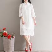 洋装 中大尺碼 春季新款重工刺繡寬鬆白色七分袖連身裙 文藝復古中式改良旗袍裙