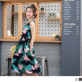 《DA5919-》滿版印花腰綁帶無袖洋裝 OB嚴選