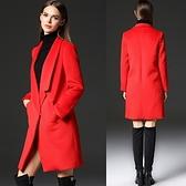 風衣外套-長版個性斜插修身女毛呢大衣2色73ir12【時尚巴黎】