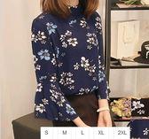 EASON SHOP(GU1052)黑色藍色碎花七分袖喇叭袖雪紡衫S-2XL上衣女長袖襯衫