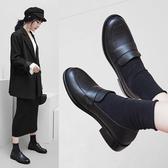手工真皮大尺碼女鞋34~43 2019新款韓版時尚頭層牛皮低跟紳士鞋小皮鞋~2色