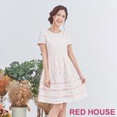 【RED HOUSE 蕾赫斯】花朵蕾絲洋裝(白色)
