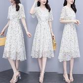 洋裝短袖印花中大尺碼M-4XL雪紡亮絲印花花邊短袖修身連身裙非A008-9417.胖胖唯依