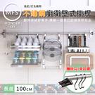 廚百妙 (贈掛鉤) 100CM不鏽鋼免打孔釘牆式壁掛桿