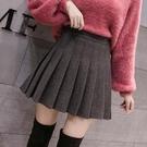 春季裙子半身裙2020新款毛呢高腰短裙百褶裙學院黑色大碼a字褲裙