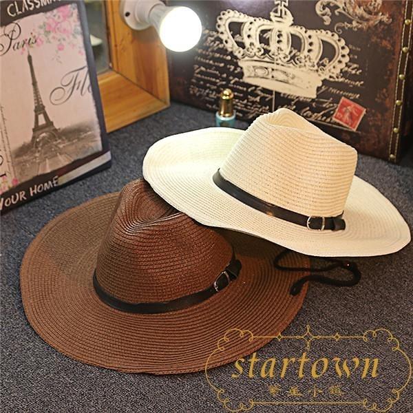 防曬男士草帽可折疊牛仔帽戶外遮陽禮帽沙灘帽大檐出游【繁星小鎮】