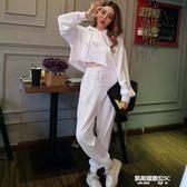 秋新款女裝韓版寬鬆連帽套頭衛衣高腰休閒長褲運動套裝女兩件套  凱斯盾數位3C