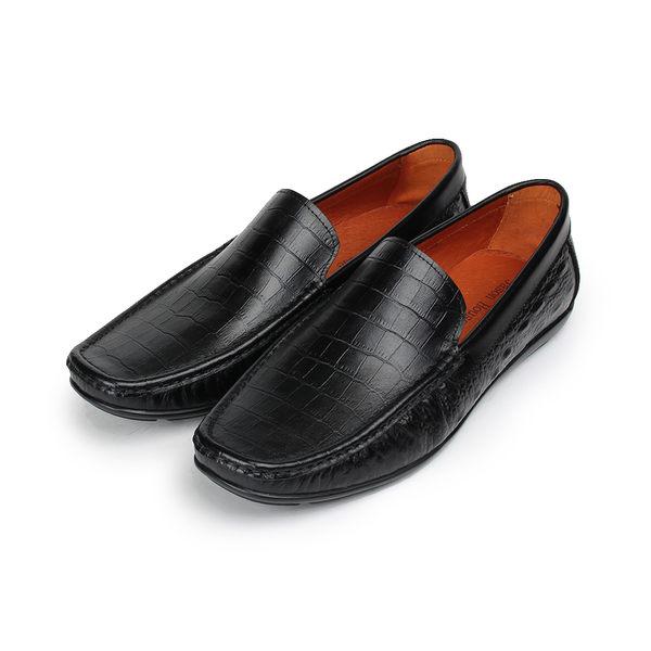 Jason House 鱷魚壓紋套式休閒皮鞋 棕 男