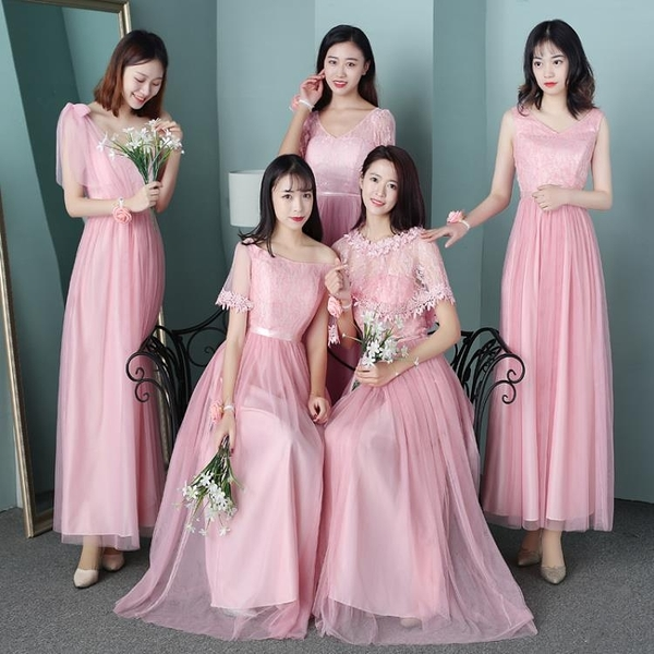 禮服洋裝 伴娘服中長款新款韓版姐妹團修身顯瘦仙氣質大碼宴會晚禮服裙