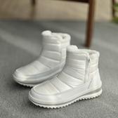 新款百搭時尚短靴保暖加絨防水雪地靴棉鞋女冬季白鞋短筒平底