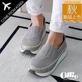 韓國Ollie 韓國空運 百搭拼接縫線 設計款厚底休閒懶人鞋【F720677】版型偏小/SD韓美鞋