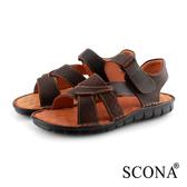 SCONA 蘇格南 全真皮 精縫手工厚底涼鞋 咖啡色 1747-2
