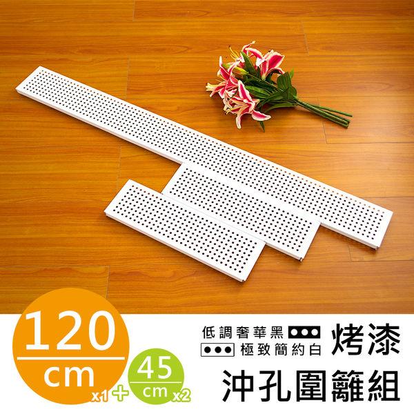 【dayneeds】【配件類】120公分鐵架/層架兩用-(極緻簡約白)烤漆沖孔板圍籬組