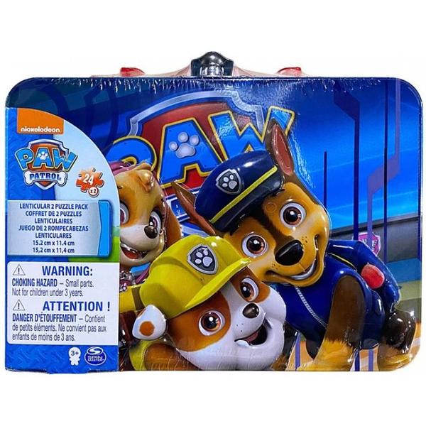 《 汪汪隊立大功 paw patrol 》手提式小鐵盒雙組合折光拼圖 / JOYBUS玩具百貨