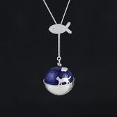 項鍊 925純銀青金石吊墜-創意小貓生日聖誕節交換禮物女飾品2款73gm6[時尚巴黎]