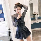 VK精品服飾 韓系性感透視網紗拼接絲絨高腰裙褲套裝長袖褲裝