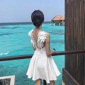 連身裙 裙子女夏季2019新款性感露背小黑裙羽毛流蘇吊帶裙氣質修身連衣裙