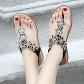 時尚波西米亞休閒涼鞋 花朵水鑽大碼平底鞋《小師妹》sm1929