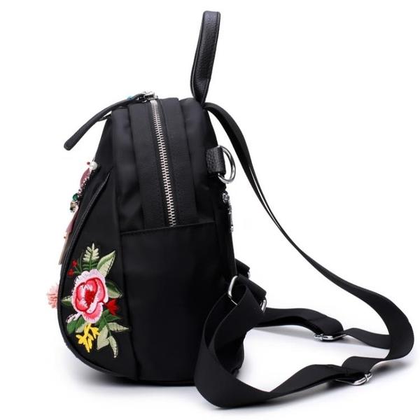 刺繡包天天花朵刺繡後背包手工水鑽3D蜻蜓側背背包休閒復古時尚爾碩