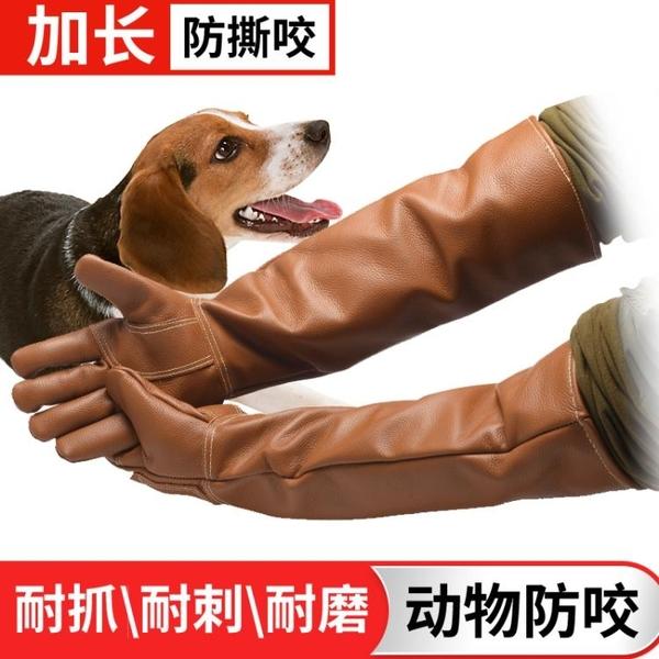 雙層牛皮加厚加長防咬手套養蛇手套防貓狗鼠寵物訓狗手套實驗手套 免運