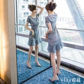 中大尺碼魚尾洋裝 蕾絲鏤空連身裙歐洲站2019夏季新款藍色小清新修身中長款 nm21488【VIKI菈菈】