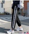 熱賣縮口褲 加絨灰色運動褲子女寬鬆束腳褲2021秋冬新款顯瘦休閒衛褲潮 coco