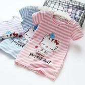女童夏季長款T恤條紋長版短袖衫2018新款