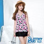 【夏之戀SUMMERLOVE】俏皮點點長版三件式泳衣(S16726)