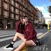 早秋連帽T恤女潮ins寬鬆韓版紅色連帽中長款超火的加絨加厚 【快速出貨】