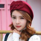 貝雷帽冬季時尚韓版蓓蕾帽英倫羊毛氈帽復古禮帽 zm7671『男人範』
