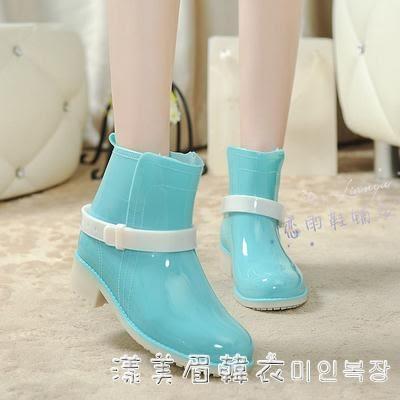 雨鞋夏冬女韓國時尚短筒防水保暖棉膠鞋防滑水鞋果凍大碼馬丁雨靴 igo漾美眉韓衣
