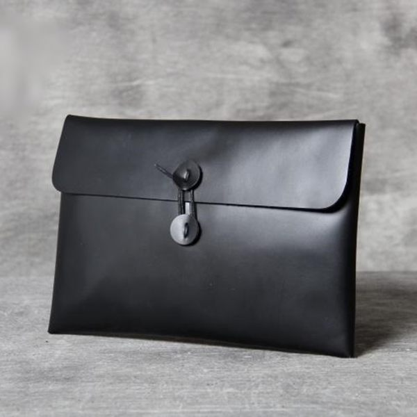 真皮手拿包-純色牛皮簡約信封包男女錢包4款73vp29【巴黎精品】