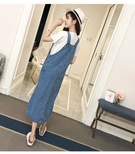 漂亮小媽咪 牛仔吊帶裙 【D5390】 牛仔 吊帶裙 背心裙 長裙 長洋裝 孕婦裝