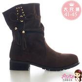 艾妮塔公主。中大尺碼女鞋。(B155)經典俏麗蝴蝶結麂皮釘釦造型短靴 中長靴 2色。41 42 43 44 45 碼