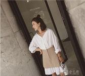 襯衫連身裙中長款夏裝新款條紋V領假兩件學生收腰pphome裙子 探索先鋒